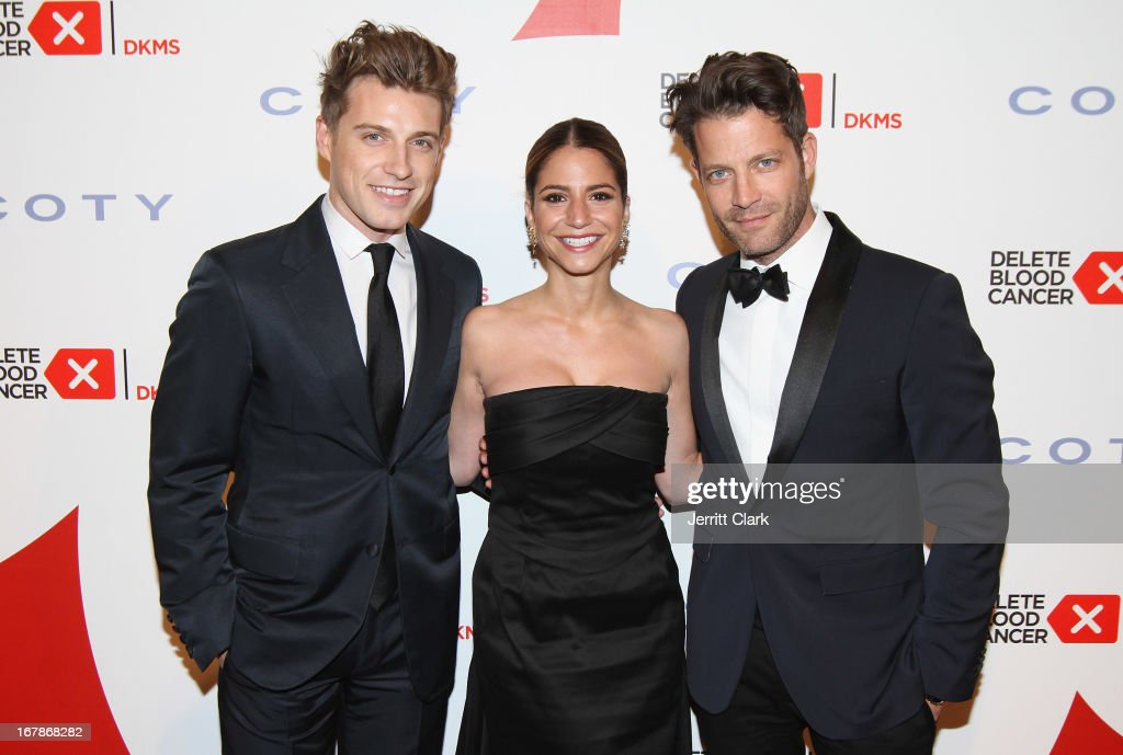 Designer Nate Berkus poses with fiance Jeremiah Brent and his sister at the 2013 Delete Blood Cancer Gala at Cipriani Wall Street on May 1, 2013 in New York City.