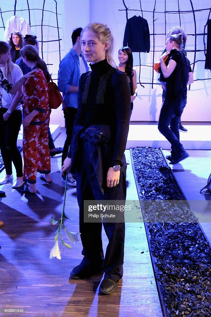 Designer Nathini van der Meer poses at the Nathini van der Meer show during the Mercedes-Benz Fashion Week Berlin Spring/Summer 2017 at Stage at me Collectors Room on June 30, 2016 in Berlin, Germany.