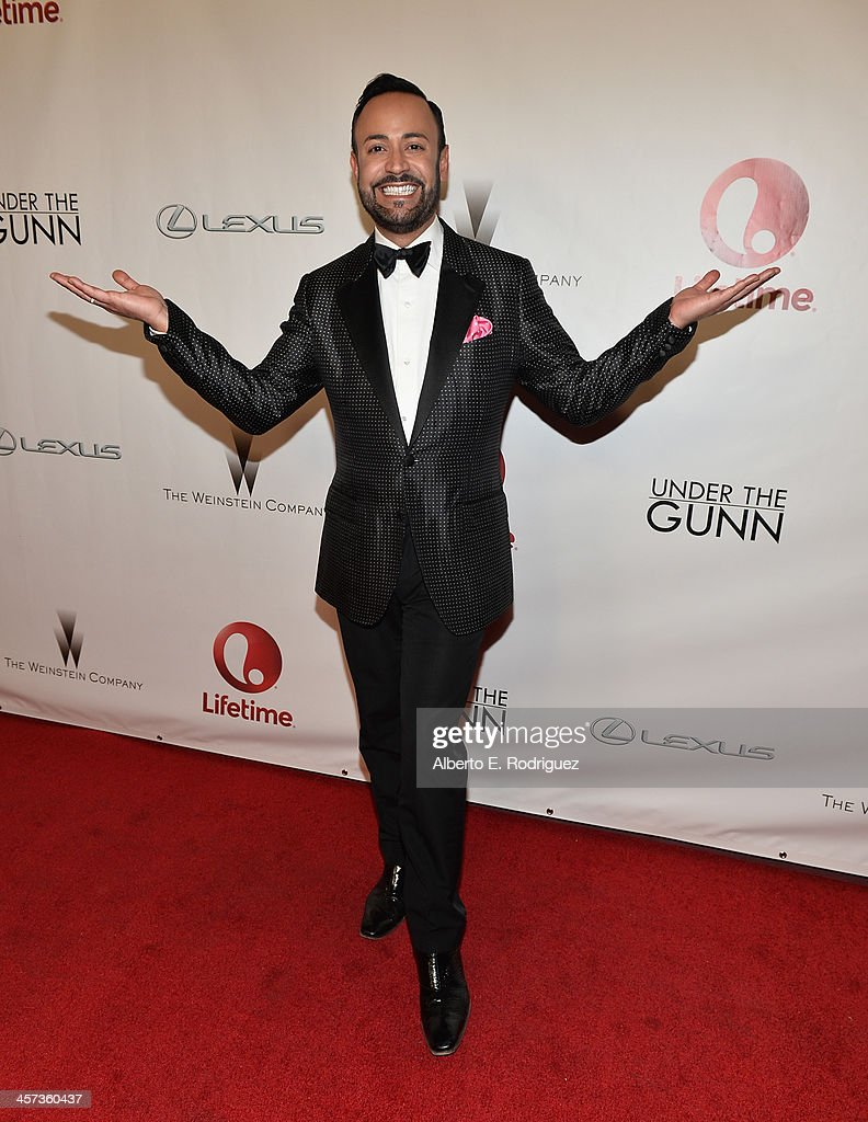 Designer <a gi-track='captionPersonalityLinkClicked' href=/galleries/search?phrase=Nick+Verreos&family=editorial&specificpeople=572100 ng-click='$event.stopPropagation()'>Nick Verreos</a> attends the 'Under The Gunn' Finale Fashion Show at Los Angeles Theatre on December 16, 2013 in Los Angeles, California.