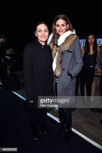 Designer Nicky Zimmerman and Olivia Palermo attend the Zimmermann fashion show during MercedesBenz Fashion Week Fall 2015 at ArtBeam on February 13...