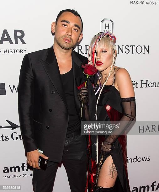 Designer Nicola Formichetti and Model Brooke Candy attend 7th Annual amfAR Inspiration Gala New York at Skylight at Moynihan Station on June 9 2016...