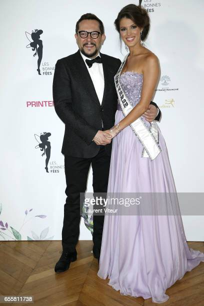Designer Nicolas Fafiotte and Miss Univers 2017 Iris Mittenaere attend 'Les Bonnes Fees' Charity Gala at Hotel D'Evreux on March 20 2017 in Paris...
