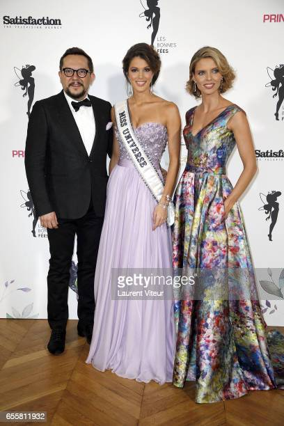 Designer Nicolas Fafiotte Miss Univers 2017 Iris Mittenaere and Miss France 2002 Sylvie Tellier attend 'Les Bonnes Fees' Charity Gala at Hotel...