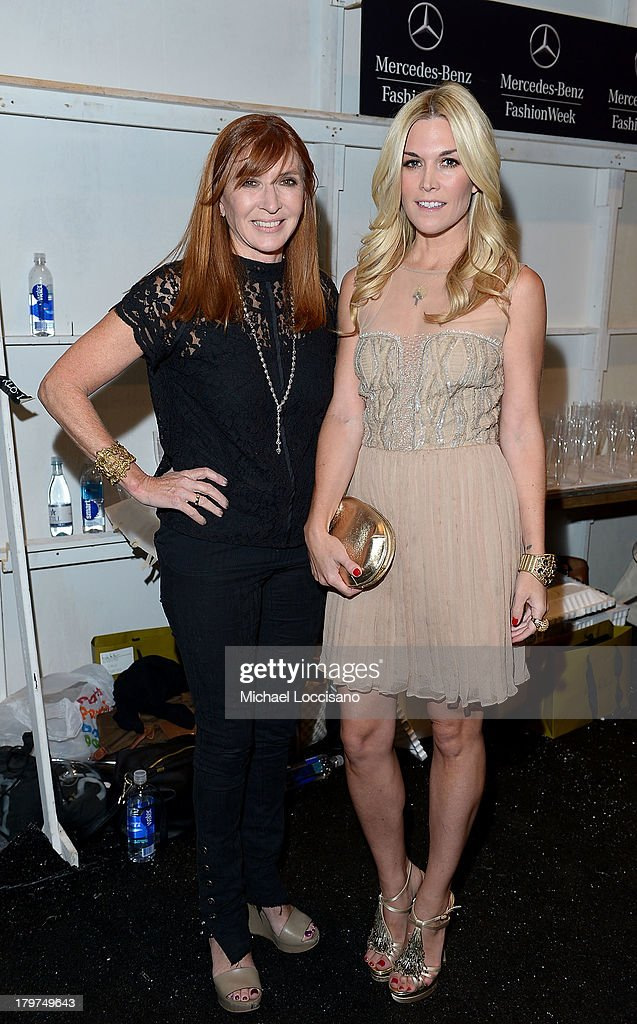 Designer Nicole Miller (L) and <a gi-track='captionPersonalityLinkClicked' href=/galleries/search?phrase=Tinsley+Mortimer&family=editorial&specificpeople=207123 ng-click='$event.stopPropagation()'>Tinsley Mortimer</a> pose backstage at the Nicole Miller Spring 2014 fashion show during Mercedes-Benz Fashion Week at The Studio at Lincoln Center on September 6, 2013 in New York City.