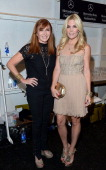 Designer Nicole Miller and Tinsley Mortimer pose backstage at the Nicole Miller Spring 2014 fashion show during MercedesBenz Fashion Week at The...