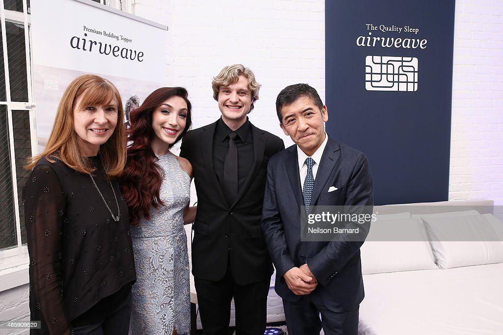 Designer Nicole Miller, ice dancer <a gi-track='captionPersonalityLinkClicked' href=/galleries/search?phrase=Meryl+Davis&family=editorial&specificpeople=3995758 ng-click='$event.stopPropagation()'>Meryl Davis</a> and ice dancer <a gi-track='captionPersonalityLinkClicked' href=/galleries/search?phrase=Charlie+White+-+Figure+Skater&family=editorial&specificpeople=6691356 ng-click='$event.stopPropagation()'>Charlie White</a> and <a gi-track='captionPersonalityLinkClicked' href=/galleries/search?phrase=Motokuni+Takaoka&family=editorial&specificpeople=14098125 ng-click='$event.stopPropagation()'>Motokuni Takaoka</a> attend the first U.S store opening in SoHo of airweave on March 11, 2015 in New York City.