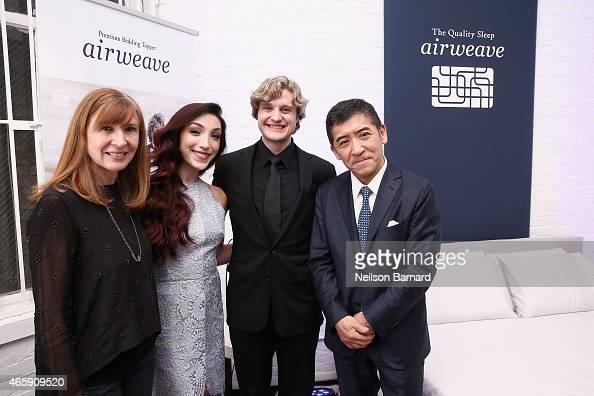 Designer Nicole Miller ice dancer Meryl Davis and ice dancer Charlie White and Motokuni Takaoka attend the first US store opening in SoHo of airweave...