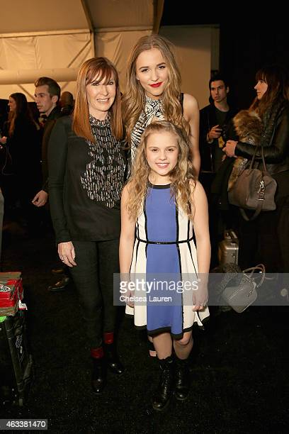 Designer Nicole Miller Lennon Stella and Maisy Stella prepare backstage at the Nicole Miller fashion show during MercedesBenz Fashion Week Fall 2015...