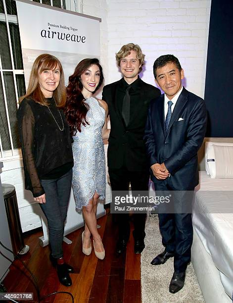 Designer Nicole Miller OlympicGold Medalists Meryl Davis Charlie White and Motokuni Takaoka attend the first US store opening in SoHo of airweave on...