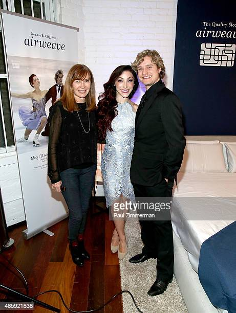 Designer Nicole MillerOlympicGold Medalists Meryl Davis and Charlie White attend the first US store opening in SoHo of airweave on March 11 2015 in...