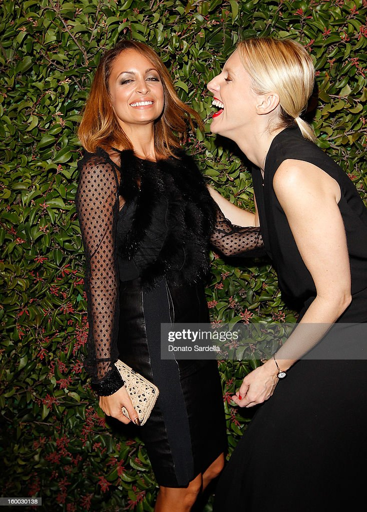 Designer Nicole Richie (L) and Executive Editor/Special Projects Director of Harper's Bazaar, Laura Brown attend the Ferragamo presentation Spring Summer Runway Collection with VIP dinner, hosted by Jacqui Getty and Harpers BAZAAR at Chateau Marmont on January 24, 2013 in Los Angeles, California.