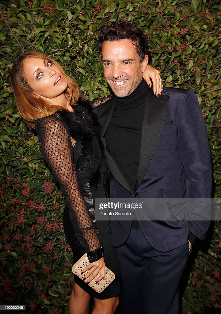 Designer <a gi-track='captionPersonalityLinkClicked' href=/galleries/search?phrase=Nicole+Richie&family=editorial&specificpeople=201646 ng-click='$event.stopPropagation()'>Nicole Richie</a> (L) and stylist <a gi-track='captionPersonalityLinkClicked' href=/galleries/search?phrase=George+Kotsiopoulos&family=editorial&specificpeople=2530004 ng-click='$event.stopPropagation()'>George Kotsiopoulos</a> attend the Ferragamo presentation Spring Summer Runway Collection with VIP dinner, hosted by Jacqui Getty and Harpers BAZAAR at Chateau Marmont on January 24, 2013 in Los Angeles, California.