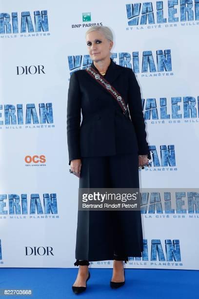 Designer of Christian Dior Maria Grazia Chiuri attends 'Valerian et la Cite des Mille Planetes' Paris premiere at La Cite Du Cinema on July 25 2017...