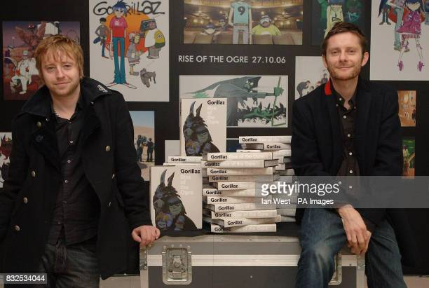 Designer of the Year Jamie Hewlett and Cass Browne are seen with their Gorillaz artwork covering hoardings at the South Bank as limited editions of...