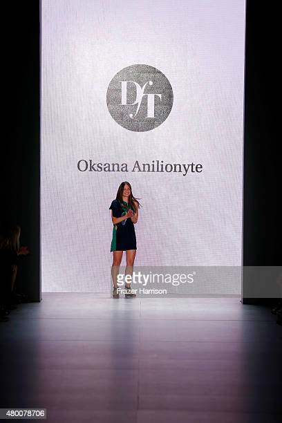 Designer Oksana Anilionyte walks the runway at the fashion talent award 'Designer for Tomorrow' by Peek Cloppenburg and Fashion ID hosted by Zac...