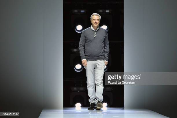 Designer Olivier Lapidus walks the runway during the Lanvin show as part of the Paris Fashion Week Womenswear Spring/Summer 2018 on September 27 2017...