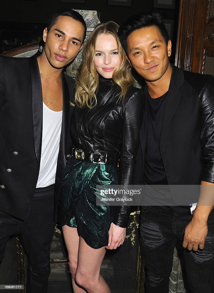 Designer Olivier Rousteing, actress Kate Bosworth and designer Prabal Gurung attend Moda Operandi and St. Regis Hotels & Resorts event 'A Midnight Supper' to celebrate the launch of the exclusive Punk Collection on preview at The St Regis New York on May 4, 2013 in New York City.