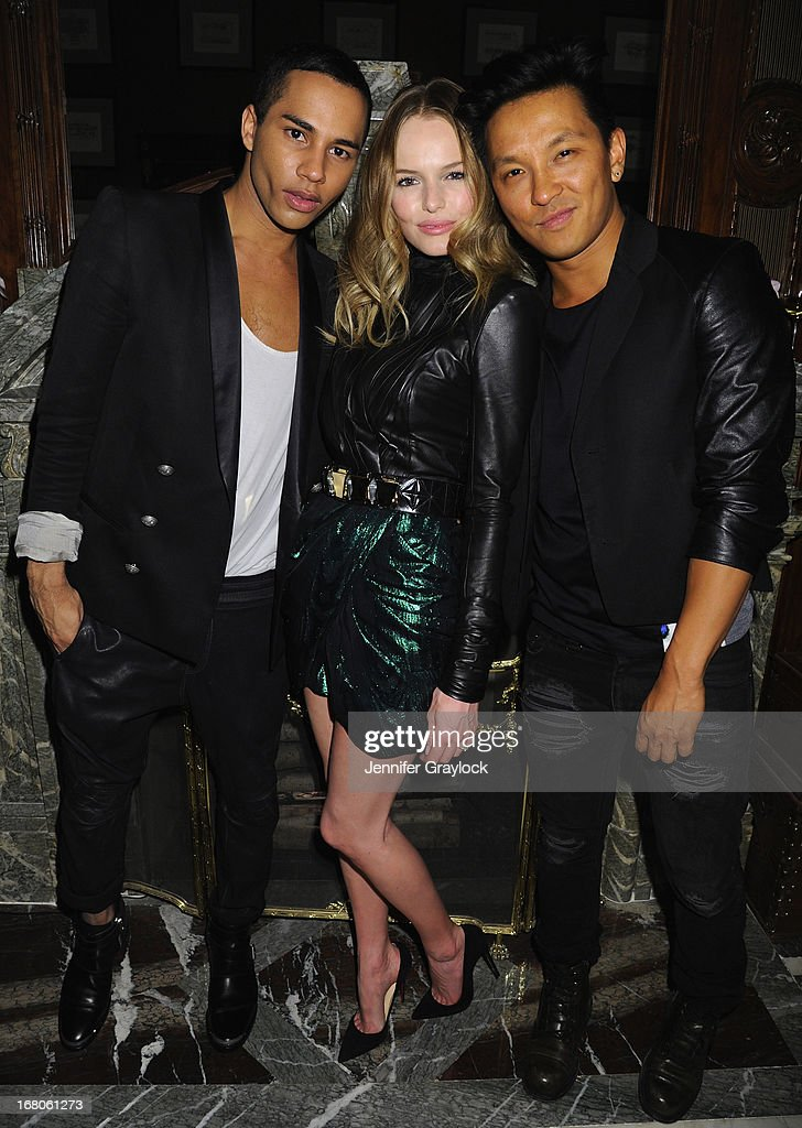 Designer Olivier Rousteing, actress Kate Bosworth, designer Prabal Gurung attend Moda Operandi and St. Regis Hotels & Resorts event 'A Midnight Supper' to celebrate the launch of the exclusive Punk Collection on preview at The St Regis New York on May 4, 2013 in New York City.