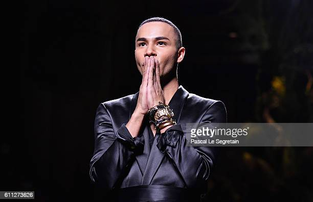 Designer Olivier Rousteing is seen on the runway during the Balmain show as part of the Paris Fashion Week Womenswear Spring/Summer 2017 on September...