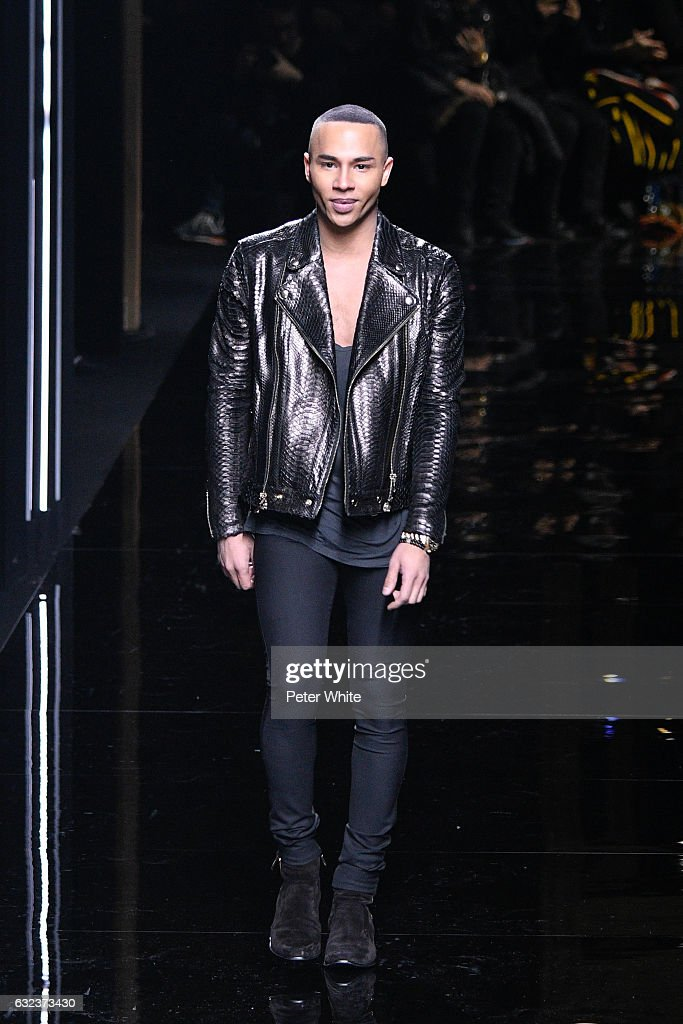 Designer Olivier Rousteing walks the runway after the Balmain Menswear Fall/Winter 2017-2018 show as part of Paris Fashion Week on January 21, 2017 in Paris, France.