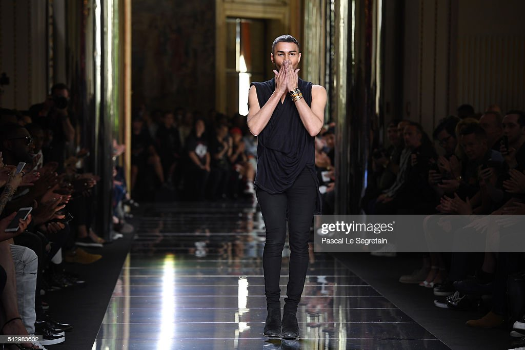 Designer Olivier Rousteing walks the runway during the Balmain Menswear Spring/Summer 2017 show as part of Paris Fashion Week on June 25, 2016 in Paris, France.