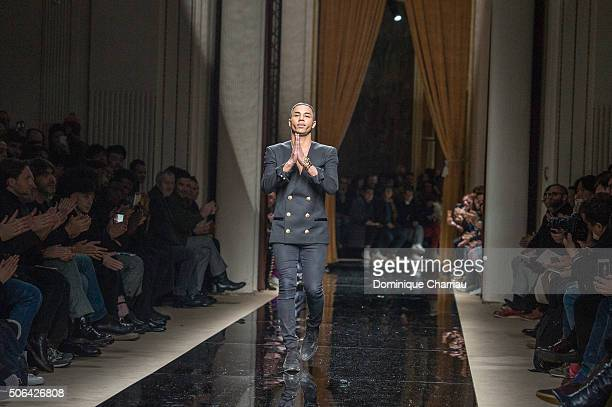 Designer Olivier Rousteing walks the runway during the Balmain Menswear Fall/Winter 20162017 show as part of Paris Fashion Week on January 23 2016 in...