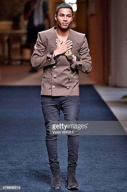 Designer Olivier Rousteing walks the runway during the Balmain Ready to Wear Menswear Spring/Summer 2016 show as part of Paris Fashion Week on June...