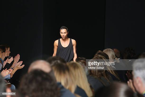 Designer Olivier Rousteing walks the runway during the Balmain show as part of the Paris Fashion Week Womenswear Spring/Summer 2015 on September 25...