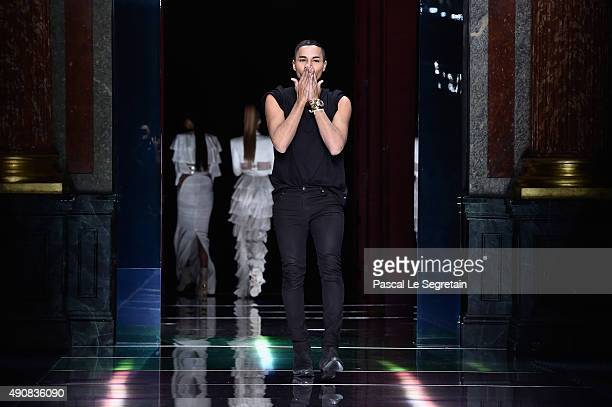 Designer Olivier Rousteing walks the runway during the Balmain show as part of the Paris Fashion Week Womenswear Spring/Summer 2016 on October 1 2015...