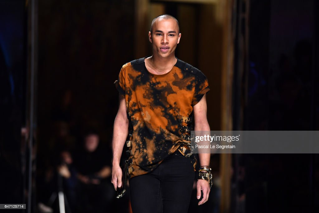 Designer Olivier Rousteing walks the runway during the Balmain show as part of the Paris Fashion Week Womenswear Fall/Winter 2017/2018 on March 2, 2017 in Paris, France.