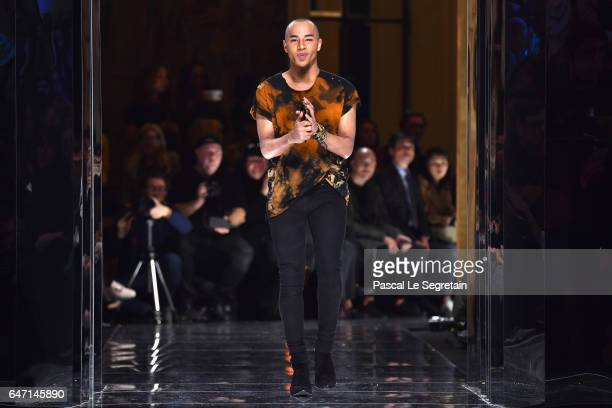 Designer Olivier Rousteing walks the runway during the Balmain show as part of the Paris Fashion Week Womenswear Fall/Winter 2017/2018 on March 2...