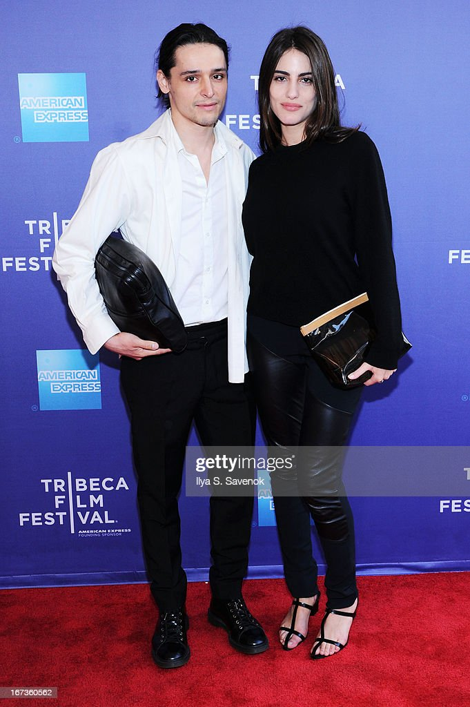 Designer Olivier Theyskens (L) and model Luisa Moraes attend Tribeca Talks: After The Movie: Battle Of amFAR during the 2013 Tribeca Film Festival on April 24, 2013 in New York City.