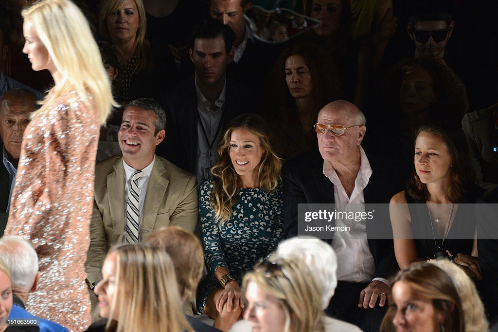 Designer Oscar de la Renta, actors Andy Cohen, Sarah Jessica Parker and Barry Diller, Chairman and Senior Executive of IAC/InterActiveCorp attend the Diane Von Furstenberg show during Spring 2013 Mercedes-Benz Fashion Week at The Theatre at Lincoln Center on September 9, 2012 in New York City.