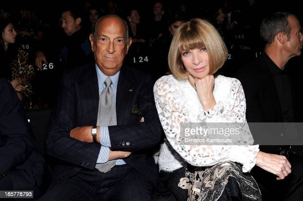 Designer Oscar de la Renta and Anna Wintour attend Giorgio Armani One Night Only NYC at SuperPier on October 24 2013 in New York City