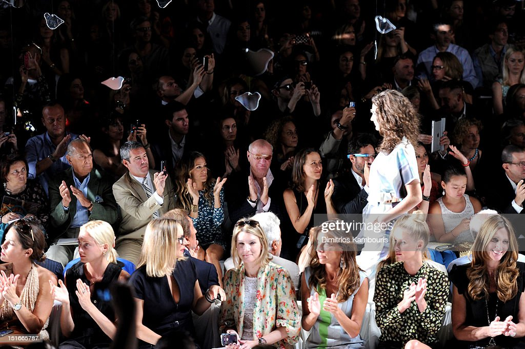 Designer Oscar De La Renta, TV personality Andy Cohen, actress Sarah Jessica Parker, Barry Diller, Chairman and Senior Executive of IAC/InterActiveCorp, Anne Wojcicki and Google co-found Sergey Brin attend the Diane Von Furstenberg Spring 2013 fashion show during Mercedes-Benz Fashion Week at The Theatre at Lincoln Center on September 9, 2012 in New York City.