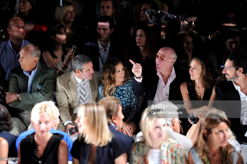 Designer Oscar De La Renta, TV personality Andy Cohen, actress <a gi-track='captionPersonalityLinkClicked' href=/galleries/search?phrase=Sarah+Jessica+Parker&family=editorial&specificpeople=201693 ng-click='$event.stopPropagation()'>Sarah Jessica Parker</a>, <a gi-track='captionPersonalityLinkClicked' href=/galleries/search?phrase=Barry+Diller&family=editorial&specificpeople=208116 ng-click='$event.stopPropagation()'>Barry Diller</a>, Chairman and Senior Executive of IAC/InterActiveCorp, Anne Wojcicki and Google co-found <a gi-track='captionPersonalityLinkClicked' href=/galleries/search?phrase=Sergey+Brin&family=editorial&specificpeople=753551 ng-click='$event.stopPropagation()'>Sergey Brin</a> attend the Diane Von Furstenberg Spring 2013 fashion show during Mercedes-Benz Fashion Week at The Theatre at Lincoln Center on September 9, 2012 in New York City.