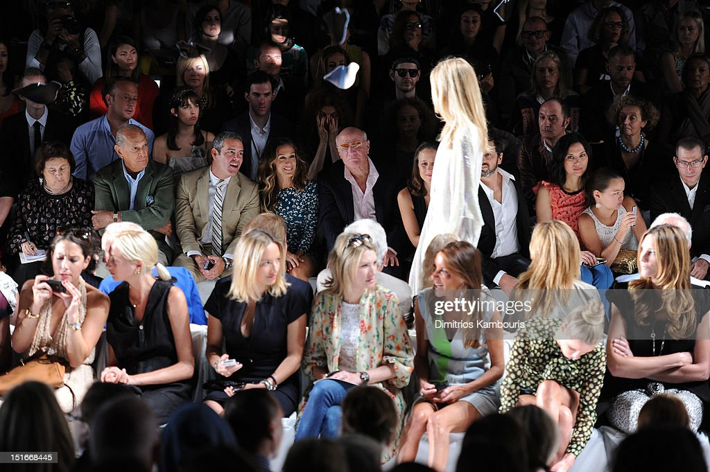 Designer Oscar De La Renta, TV personality Andy Cohen, actress Sarah Jessica Parker, Barry Diller, Chairman and Senior Executive of IAC/InterActiveCorp, Anne Wojcicki, Google co-found Sergey Brin, Wendy Murdoch and Grace Murdoch attend the Diane Von Furstenberg Spring 2013 fashion show during Mercedes-Benz Fashion Week at The Theatre at Lincoln Center on September 9, 2012 in New York City.