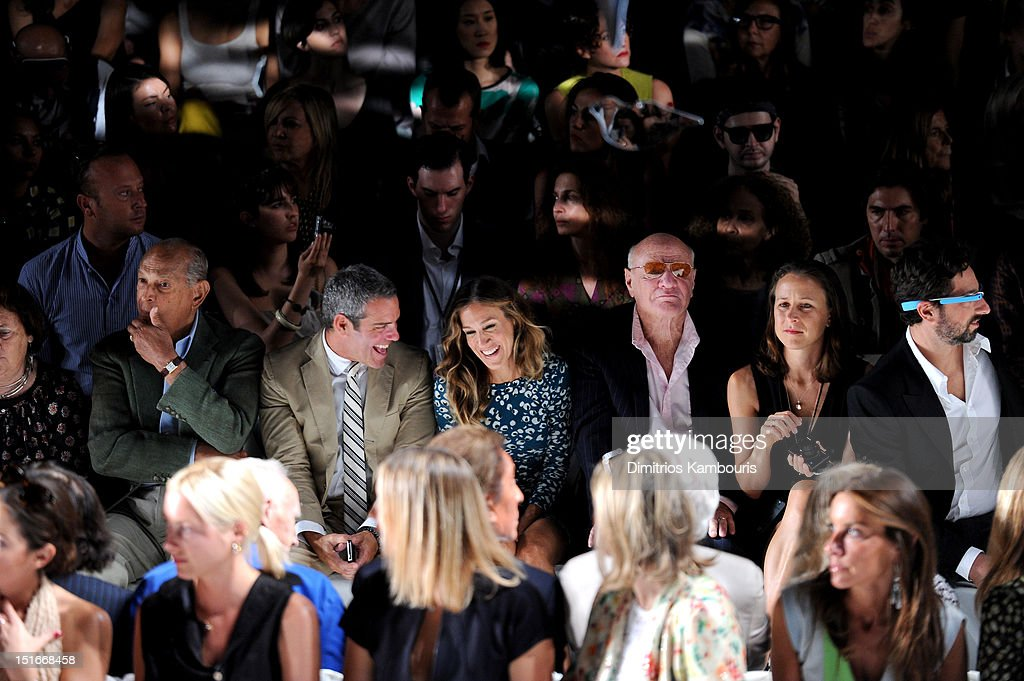 Designer Oscar De La Renta, TV personality Andy Cohen, actress Sarah Jessica Parker, Barry Diller, Chairman and Senior Executive of IAC/InterActiveCorp, Anne Wojcicki and Google co-founder Sergey Brin attend the Diane Von Furstenberg Spring 2013 fashion show during Mercedes-Benz Fashion Week at The Theatre at Lincoln Center on September 9, 2012 in New York City.