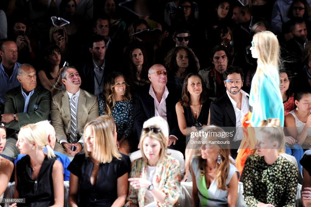 Designer Oscar De La Renta, TV personality Andy Cohen, actress Sarah Jessica Parker, Barry Diller, Chairman and Senior Executive of IAC/InterActiveCorp, Anne Wojcicki, Google co-founder Sergey Brin, Wendy Murdoch, Grace Murdoch (Front Row) Dori Cooperman (2nd R) and Nikki Hilton (R) attend the Diane Von Furstenberg Spring 2013 fashion show during Mercedes-Benz Fashion Week at The Theatre at Lincoln Center on September 9, 2012 in New York City.