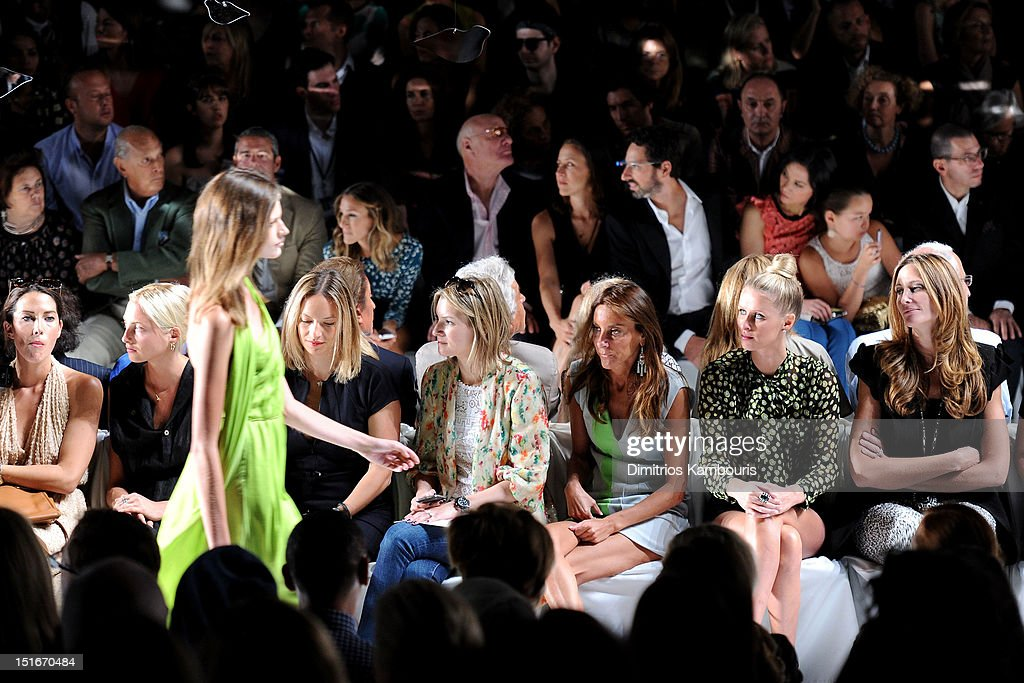 Designer Oscar De La Renta, TV personality Andy Cohen, actress Sarah Jessica Parker, Barry Diller, Chairman and Senior Executive of IAC/InterActiveCorp, Anne Wojcicki, Google co-founder Sergey Brin, Wendy Murdoch, Grace Murdoch, (Front Row) Dori Cooperman (3rd R) and Nikki Hilton (2nd R) attend the Diane Von Furstenberg Spring 2013 fashion show during Mercedes-Benz Fashion Week at The Theatre at Lincoln Center on September 9, 2012 in New York City.