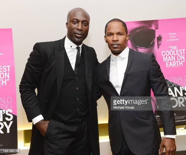 Designer Ozwald Boateng and actor Jamie Foxx attend the Los Angeles Premiere of 'A Man's Story' at WME Screening Room on November 1 2012 in Los...