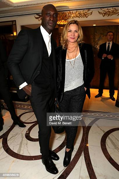 Designer Ozwald Boateng and actress Kim Cattrall attend Dancing Away photographic exhibition by Mikhail Baryshnikov at ContiniArtUK co hosted by...