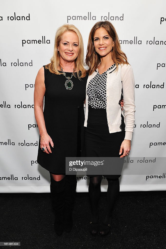 Designer Pamella Roland and Today Show anchor Natalie Morales pose backstage at the Pamella Roland Fall 2013 fashion show during Mercedes-Benz Fashion Week at at The Studio at Lincoln Center on February 11, 2013 in New York City.