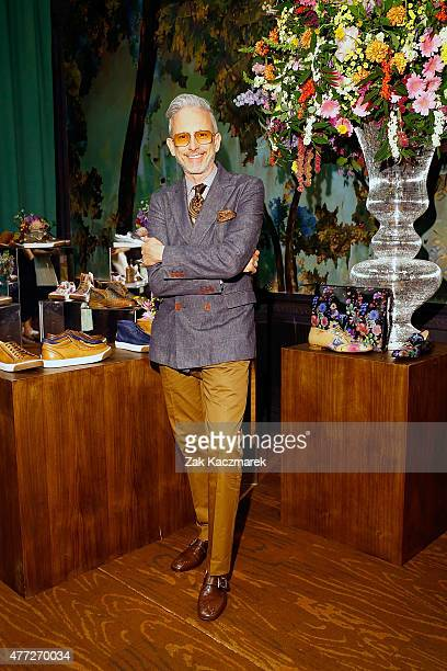 Designer Patrick Cox poses during the LATHBRIDGE by Patrick Cox presentation during The London Collections Men SS16 at The Glade Room at Sketch on...