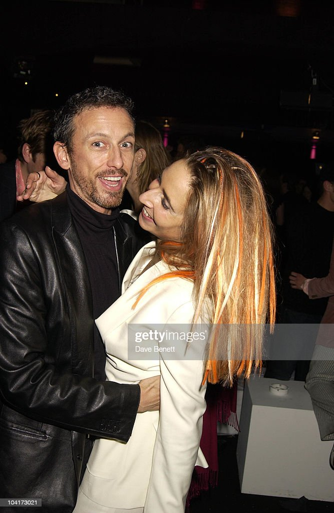 Designer Patrick Cox With Friends Sarah Bernard, New Italian Shop 'Jill Sander' Opening Party, Wood Lane, London