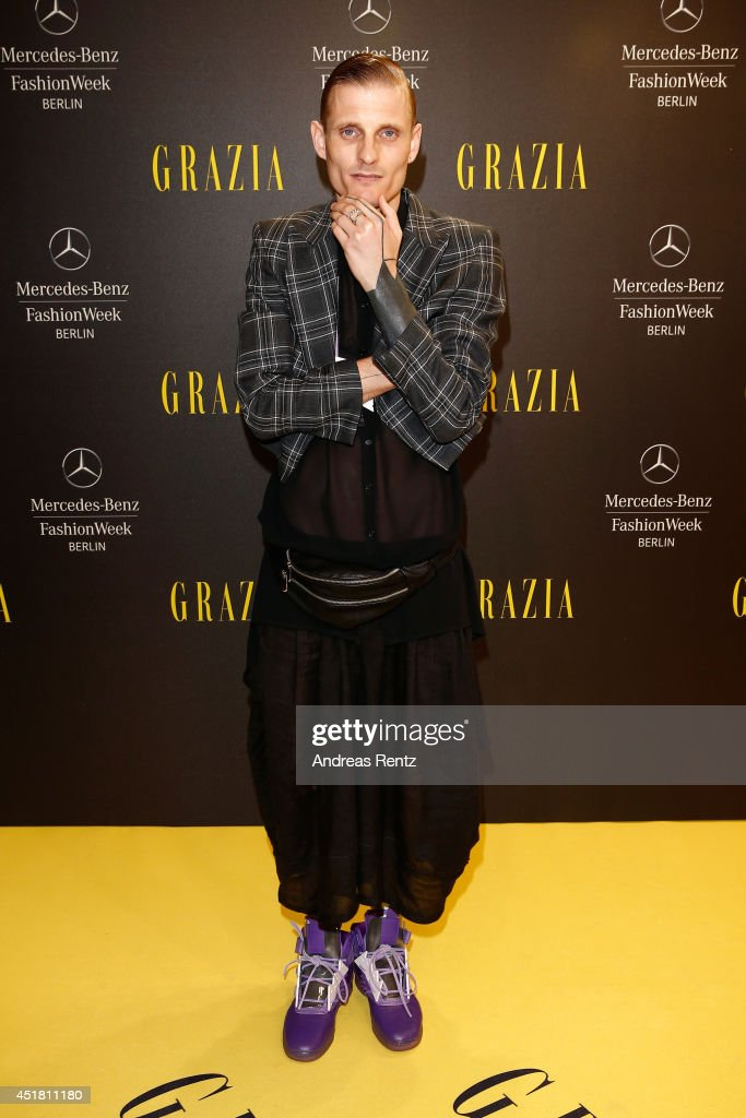 Designer Patrick Mohr arrives for the Opening Night by Grazia fashion show during the Mercedes-Benz Fashion Week Spring/Summer 2015 at Erika Hess Eisstadion on July 7, 2014 in Berlin, Germany.