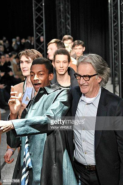 Designer Paul Smith walks the runway during the Paul Smith Menswear Fall/Winter 20152016 show as part of Paris Fashion Week on January 25 2015 in...