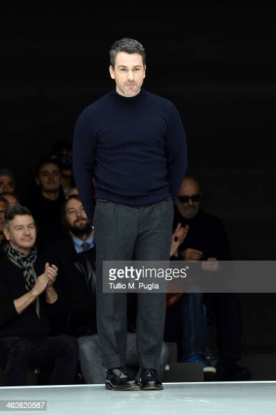 Designer Paul Surridge acknowledges the applause of the audience after the Z Zegna show as a part of Milan Fashion Week Menswear Autumn/Winter 2014...