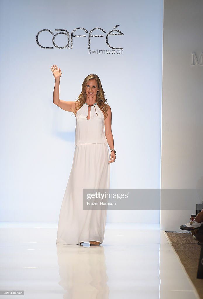 Designer Paula Saavedra walks the runway during Caffe Swimwear show at Mercedes-Benz Fashion Week Swim 2015 at Cabana Grande at The Raleigh on July 20, 2014 in Miami, Florida.