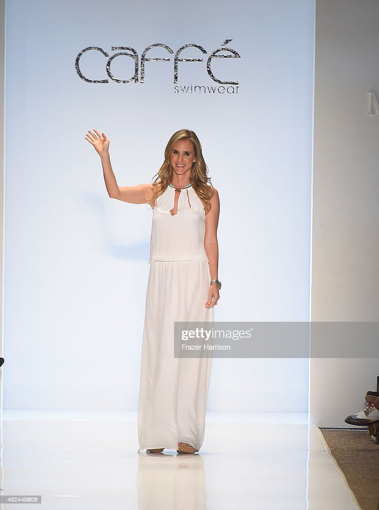 Designer Paula Saavedra walks the runway during Caffe Swimwear show at MercedesBenz Fashion Week Swim 2015 at Cabana Grande at The Raleigh on July 20...